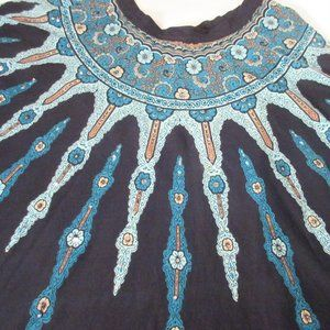 Vintage Skirts - Boho Maxi Cotton Circle Skirt with Sequins Size 18